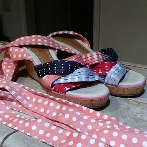 Sperry wedge lace up polka dotted shoes